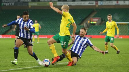 Teemu Pukki of Norwich is fouled by Tom Lees of Sheffield Wednesday during the Sky Bet Championship