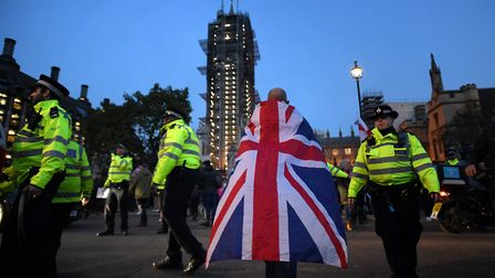 Pro-Brexit demonstrators outside the Houses of Parliament in London. Photograph: David Mirzoeff/PA.
