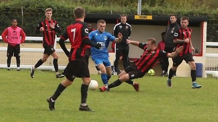 Manager Laurence Revell looks on as Huntingdon Town earned a draw with United Counties League Division One leaders Long...