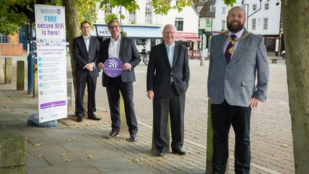 Launching free CambWifi in St Neots marketplace is Cllr Ryan Fuller, leader of Huntingdonshire District Council, mayor...