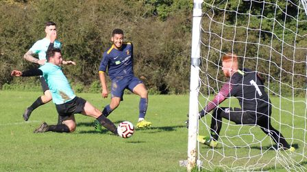 Stephen Maitland scores the first of his two goals for Mermaid against Wishing Well. Picture: BRIAN HUBBALL