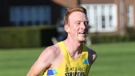Joe Weghofer of St Albans Striders in action at the socially-distanced Moor Park 10K in Rickmansworth. Picture: TONY BARR