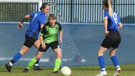 Leverington Ladies suffered a heavy defeat at the hands of Whittlesey Athletic Ladies. Here, Faye Kowalewsky tries to win the...