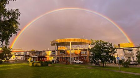 Send a letter to loved ones in hospital. Grace Oakley took this image of a rainbow over Hinchingbrooke Hospital.