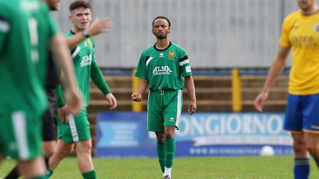 Marcus Goldbourne of Hitchin Town had a free-kick saved inthe first minute against Royston Town. Picture: DANNY LOO
