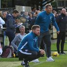 Assistant manager Chris Watters (front) was delighted with Roystons performance against Hitchin. Picture: DAVID HATTON