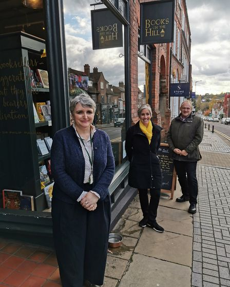 Lib Dem leader Ed Davey, St Albans MP Daisy Cooper and Books on the Hill owner Clare Mason.