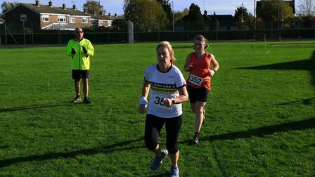 Sue Ray and Yvonne Homewood of Huntingdon based BRJ Run & Tri in action at the club's own race