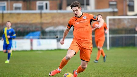 Ben Toseland hit the winning penalty in the FA Trophy shoot-out for St Ives Town against Stafford Rangers. Picture: JAMES...