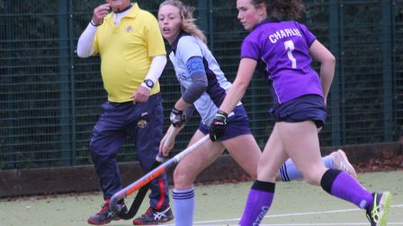 Skipper Caz Osborne in action for St Neots Hockey Club's first team against Cambridge South. Picture: HELEN ROWLAND