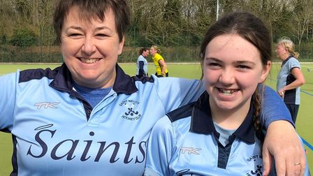 Katy Lloyd (right) with mum Ros after scoring a hat-trick for St Neots Hockey Club's fourths against Leighton Buzzard.