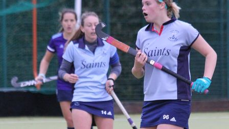 Caz Osborne and Eleanor Pybus in action for St Neots Hockey Club. Picture: HELEN ROWLAND