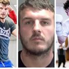 Boxer Eli Frankham in action in the ring with (centre) the photo released by Norfolk Constabulary after he was jailed for...
