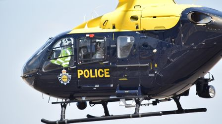 The police helicopter was out hunting for an armed gang in St Albans this weekend. Picture: Herts Police.