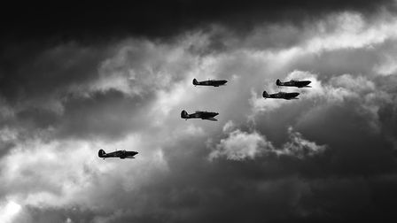 Spitfires and Hurricanes in formation at the IWM Duxford Showcase Day on Saturday, October 10. Picture: Gerry Weatherhead