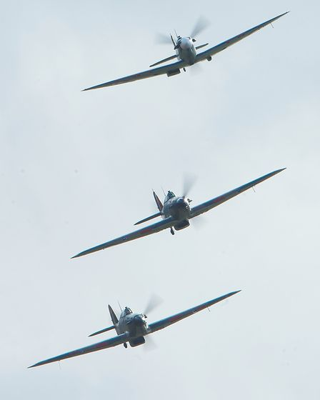World War Two fighters in close formation at the IWM Duxford Showcase Day on Saturday, October 10. Picture: Gerry Weatherhead
