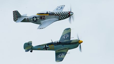 P-51 Mustang and Hispano Buchon flying at the IWM Duxford Showcase Day on Saturday, October 10. Picture: Gerry Weatherhead