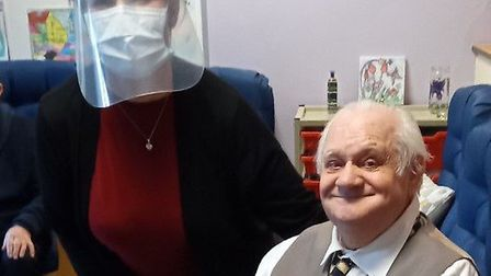 Lynne Hayden, day service team leader at Age UK for Wisbech, Huntingdon and Cambridge, pictured with Barry...