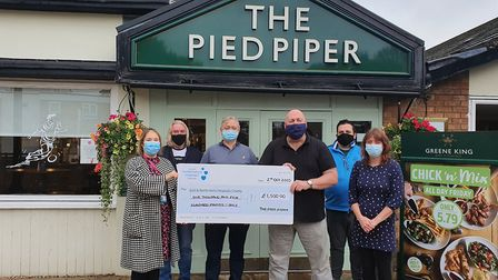 Thanks to their online quizzes, The Pied Piper was able to donate £1,500 to Stevenage's Lister Hospital. Picture: Supplied