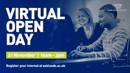 Oaklands College will virtually welcome prospective students on November 21. Picture: Oaklands College