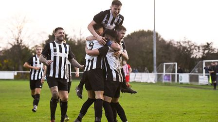 Colney Heath celebrate scoring in their FA Vase match against New Salamis at the Recreation Ground. Picture: JAMES LATTER