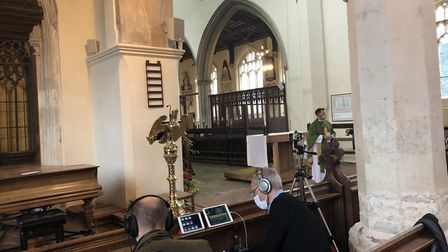 The tech team at St. Mary's Church have been keeping churchgoers connected by live streaming services. Picture: Anne Senechal