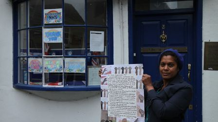 Samantha Naik with a petition she sent to Saffron Walden MP Kemi Badenoch earlier this year.