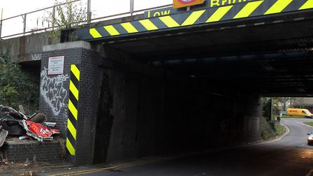 The railway bridge on Cambridge Road has been hit by a passing vehicle. Picture: Archant