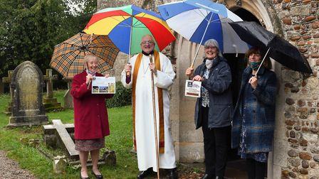 Left to Right: Hazel Powell, Bishop Reverend Stephen Conway, Jill Tyack, Diano Cook...