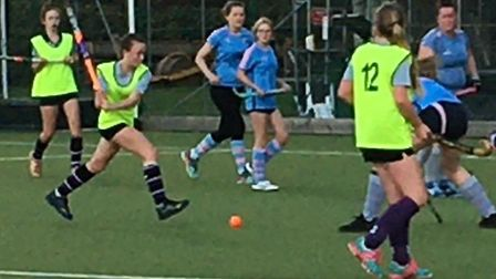 Ruby Lane scoring one of her four goals for St Neots Hockey Club's fifths against Broxbourne. Picture: TIM BETTSWORTH