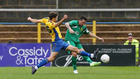 Layne Eadie got Hitchin Town's first goal in the 2-2 draw with Leiston. Picture: DANNY LOO