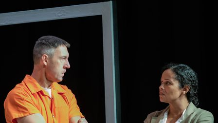 Roger Bartlett as Rick and Sarah Priddy as Gloria in the Company of Ten's production of Building The Wall at the Abbey...