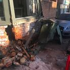 A car has crashed into the Radcliffe Arms in Hitchin, damaging the building as well as another car and a BT box.. Picture:...