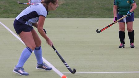 Karen Sutton in action for St Neots against St Ives. Picture: HELEN ROWLAND