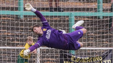 Charlie Horlock made a couple of good saves for Hitchin Town against Herne Bay. Picture: PETER ELSE