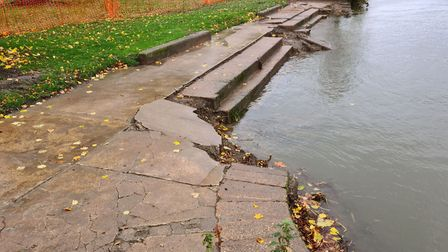 The old bathing steps at Godmanchester.