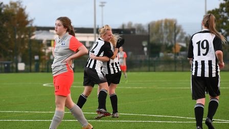 Colney Heath Ladies Res celebrate their only goal of the game against Oaklands Wolves. Picture: JAMES LATTER