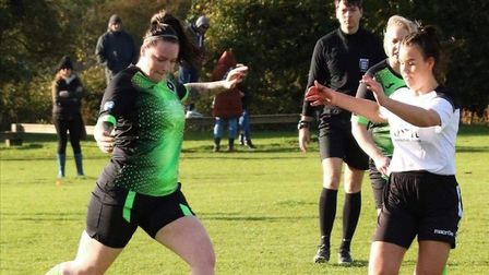 Ashleigh Rose Scott (left) scored her first goal for Leverington Ladies in their win at Cambridge City Ladies 3rds.