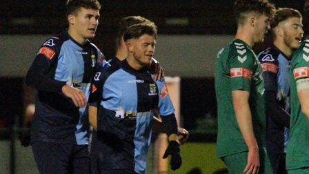 St Neots Town celebrate Tom Dickens' goal against Biggleswade. Picture: DAVID RICHARDSON/RICH IN VIDEO