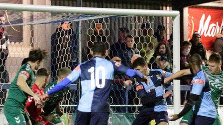 Tom Dickens scores for St Neots Town against Biggleswade. Picture: DAVID RICHARDSON/RICH IN VIDEO