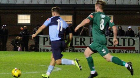 Ben Worman in action for St Neots Town against Biggleswade. Picture: DAVID RICHARDSON/RICH IN VIDEO