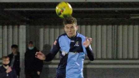 Tom Dickens in action for St Neots Town against Biggleswade. Picture: DAVID RICHARDSON/RICH IN VIDEO