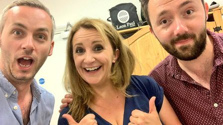 Mostly Comedy's Doggett & Ephgrave with Lucy Porter. Picture: Doggett & Ephgrave