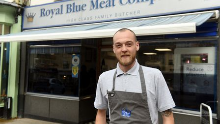 Ben Redding who works at the Royal Blue Meat Company in Wisbech. The butcher shop is backing the Wisbech Standard Shop...