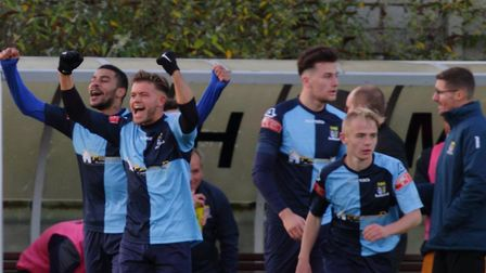 St Neots Town celebrate against Worksop Town in the FA Trophy. Picture: DAVID RICHARDSON/RICH IN VIDEO