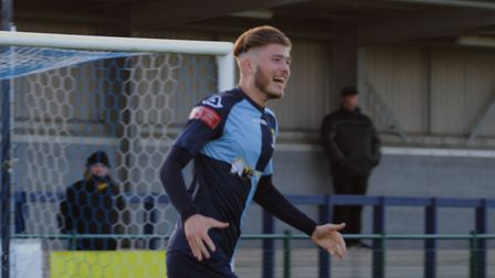 Lewis Simper celebrates his goal for St Neots Town against Worksop Town in the FA Trophy. Picture: DAVID RICHARDSON/RICH...