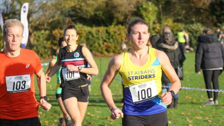 Laura Hicks in action for St Albans Striders at the Merchant Taylors' School cross country event. Picture: TONY BARR