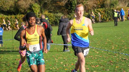 Joe Weghofer in action for St Albans Striders at the Merchant Taylors' School cross country event. Picture: TONY BARR