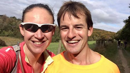 Jenna and Ben Scott of St Albans Striders at the delayed spring marathon at the Queen Elizabeth Country Park in Hampshire.