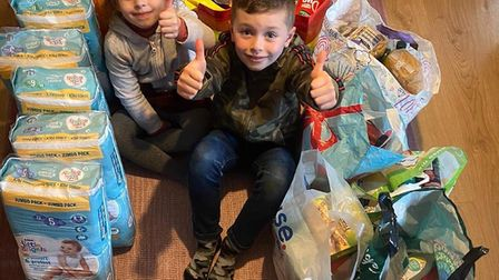 Jake and Grace, from Great Ashby, have also helped collect for Food Shed. Picture: Supplied